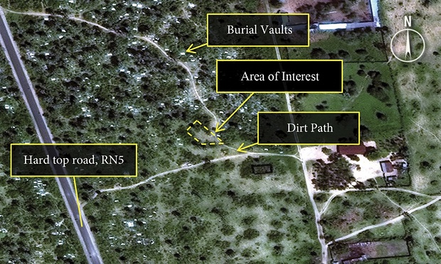 A satellite image of what Amnesty International describes as disturbed earth consistent with witness accounts and video footage of a mass grave in the Buringa area. Photograph: DigitalGlobe/Reuters