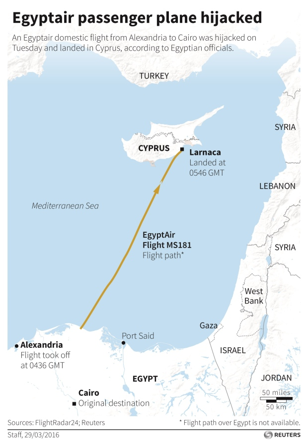 The flight took off from the Mediterranean coastal city of Alexandria en route to Cairo with at least 55 passengers, including 26 foreigners, and a seven-member crew. (Reuters)
