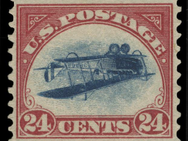 Stolen inverted Jenny stamp