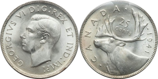 Here's what an original 1941 Canadian quarter looks like. More than 6.6 million of the silver coins bearing the likeness of King George VI on the obverse and a caribou on the reverse side were minted, according to the Coin Community website. (Photo: Heritage Auctions)