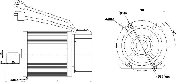 Brushless AC Servo Motor With Encoder IP64 Safety Class