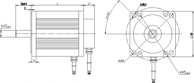3 Phase Bldc 4 Pole Brushless Motor , 1300w 310v 48v 24v