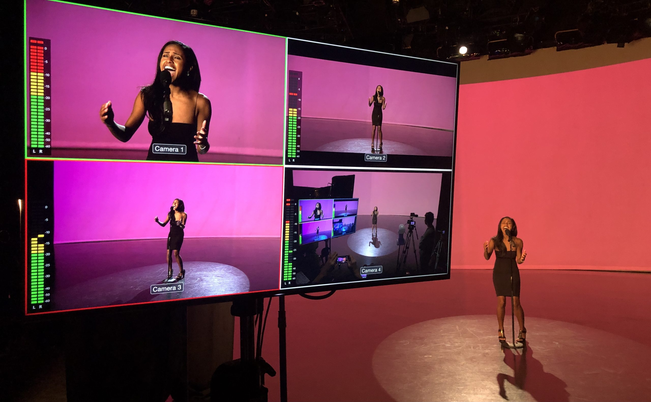 Four video monitors in the Video Studio help producers during Olivia Hardy's Musical Theatre thesis performance recording