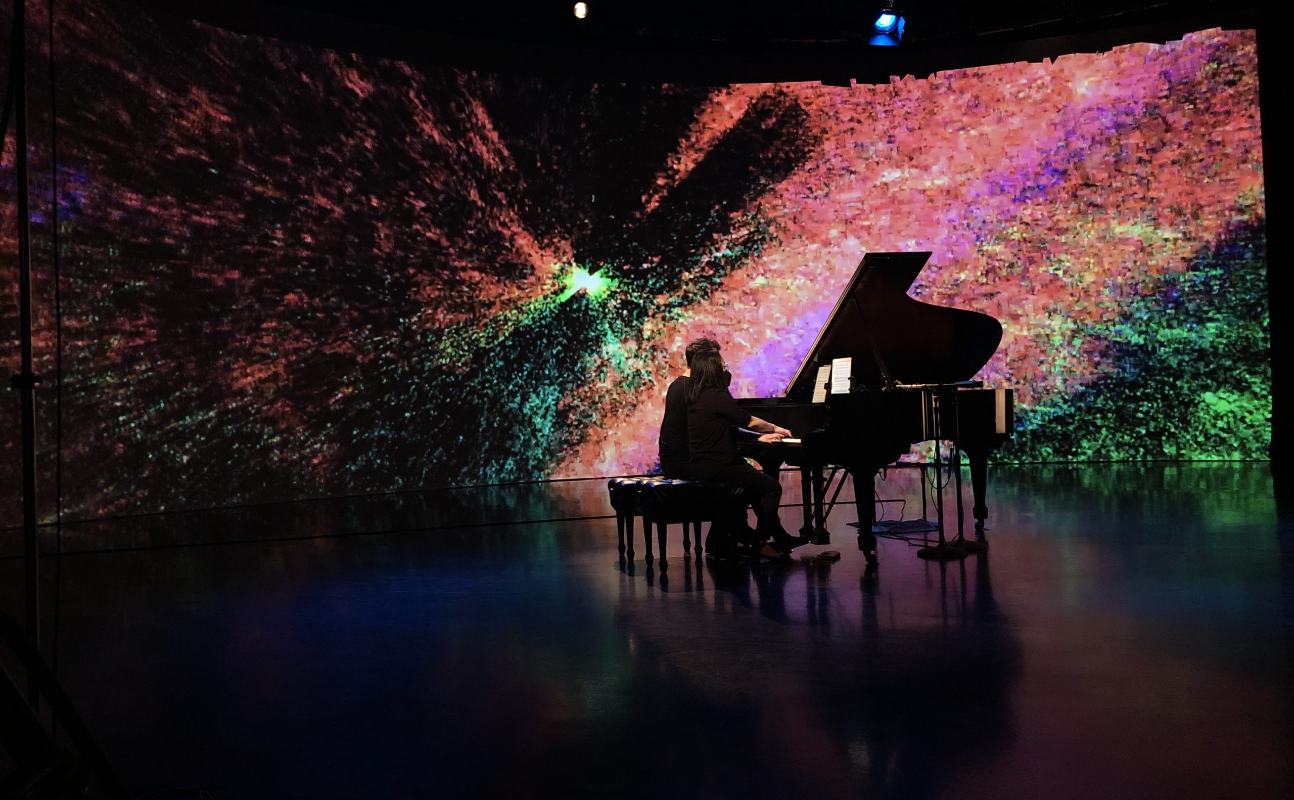 """Melissa Coppola performs her composition """"Milky Way"""" while rehearsing in the Video Studio"""