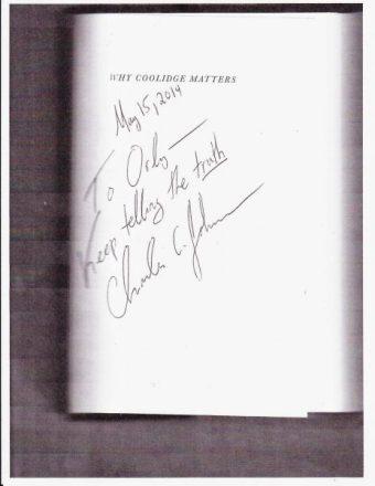 Charles-Johnson to Orly Taitz autograph