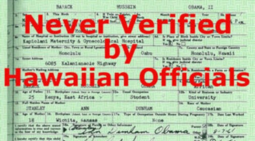Hawaii Never Verified Obama\'s Birth Certificate |