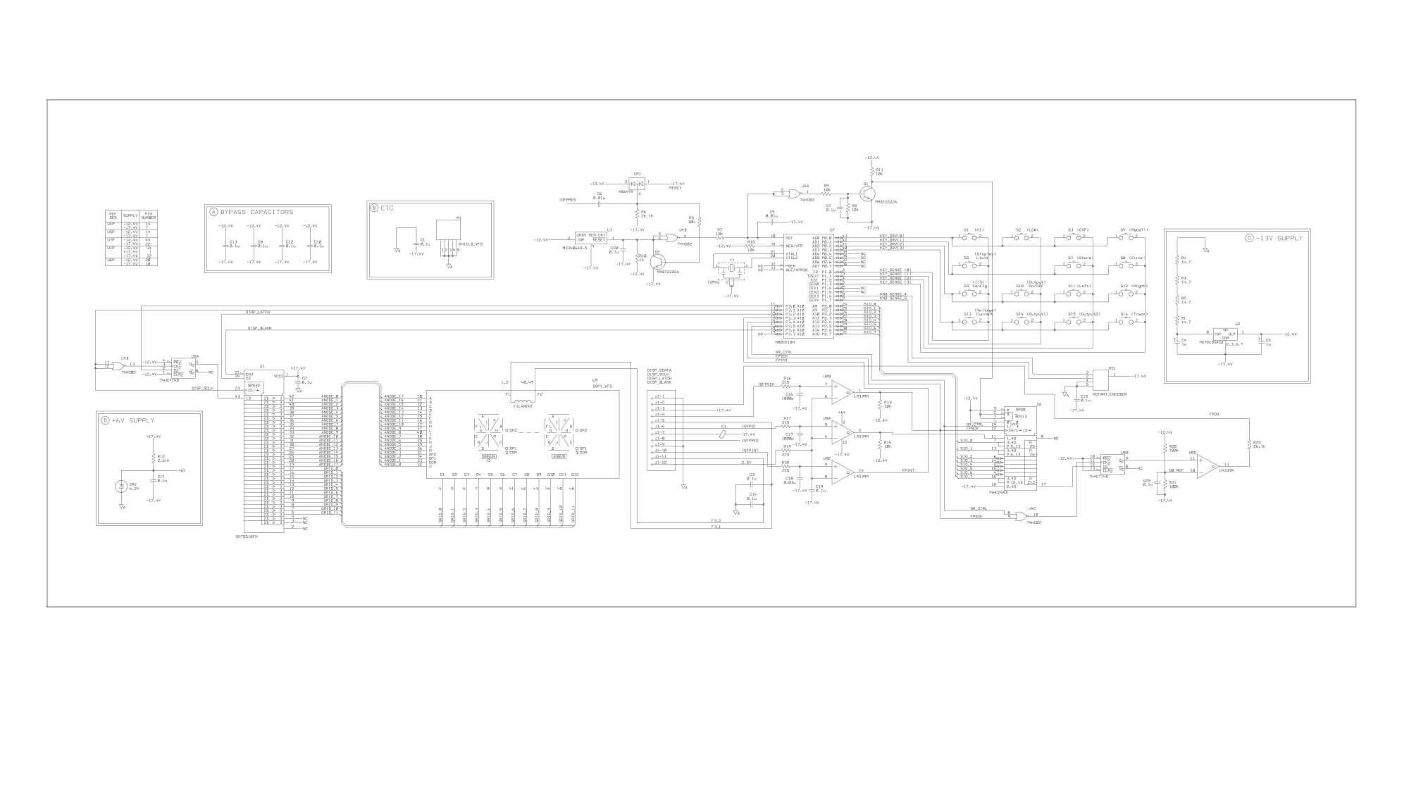 hight resolution of display board schematics extracted from service manual pg