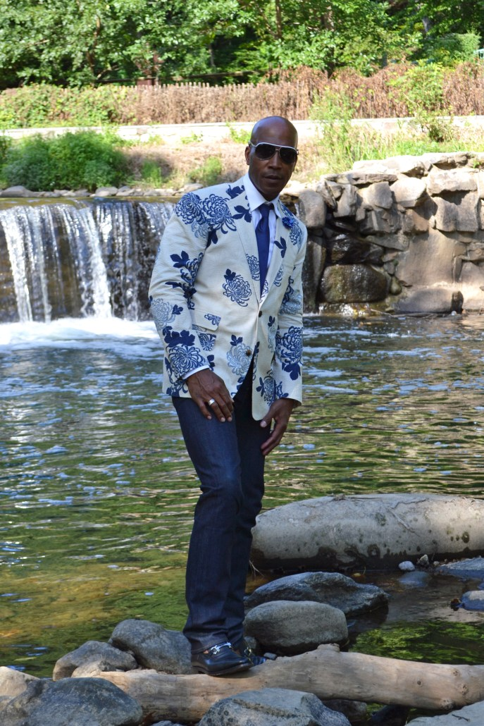 Billy Reid floral blazer by the water