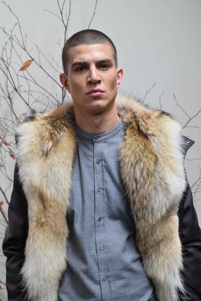 Striking fur collar seen on in the Brett Johnson A/W 2016 collection