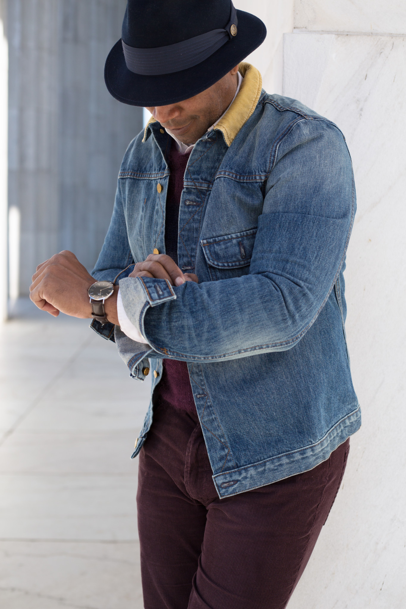 Denim and Corduroy in hat