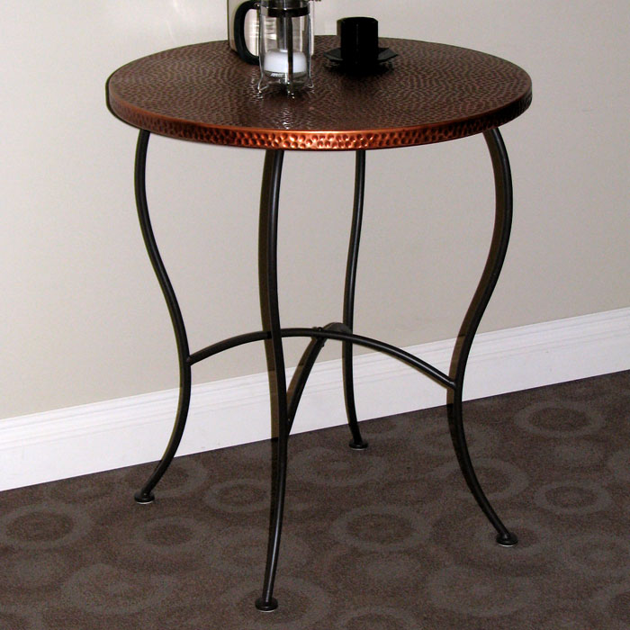 Hammered Metal Round Table  Powder Coated Brown Copper