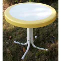 Kitchen Bistro Sets Recessed Led Lights For Retro Metal Round Side Table - White & Yellow | Dcg Stores