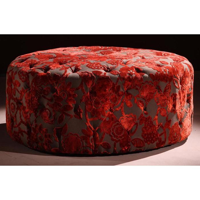 Victoria Red Velvet Fabric Ottoman DCG Stores