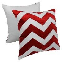 """Chevron Velvet Applique 20"""" Throw Pillows in Crimson ..."""