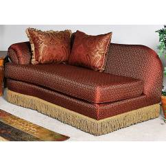Bedroom Chair With Skirt High Back Dining Slipcovers Royal Chaise Lounge Fringed Baring Rust Fabric
