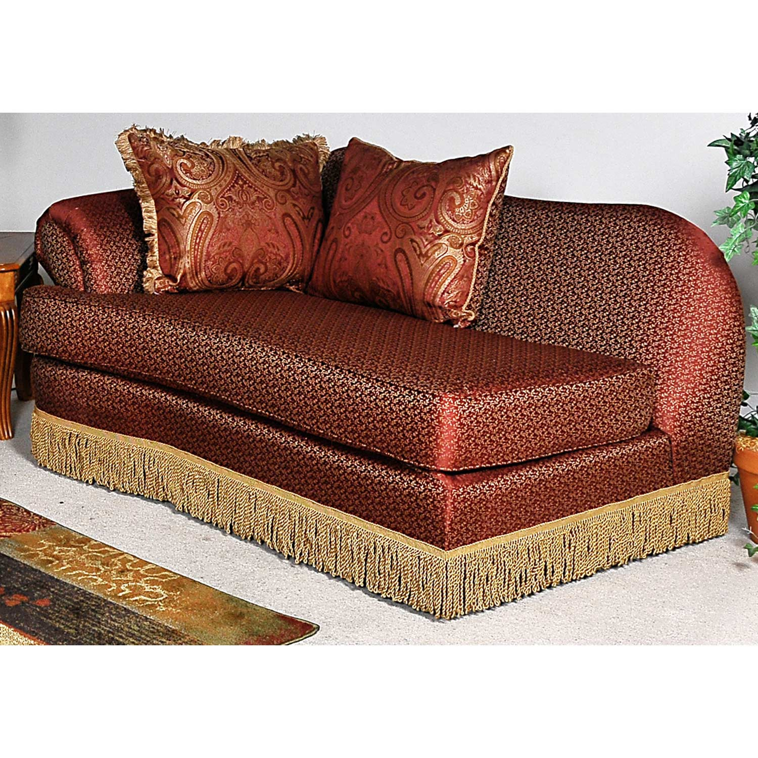 bedroom chair with skirt ethan allen wicker royal chaise lounge fringed baring rust fabric