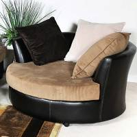 Domino Round Lounge Chair - Casters, Multi-Toned Pillows ...