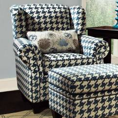 Bakers Racks For Kitchen Door Mounted Garbage Can With Lid Francine Houndstooth Fabric Chair - Keltic Peacock ...