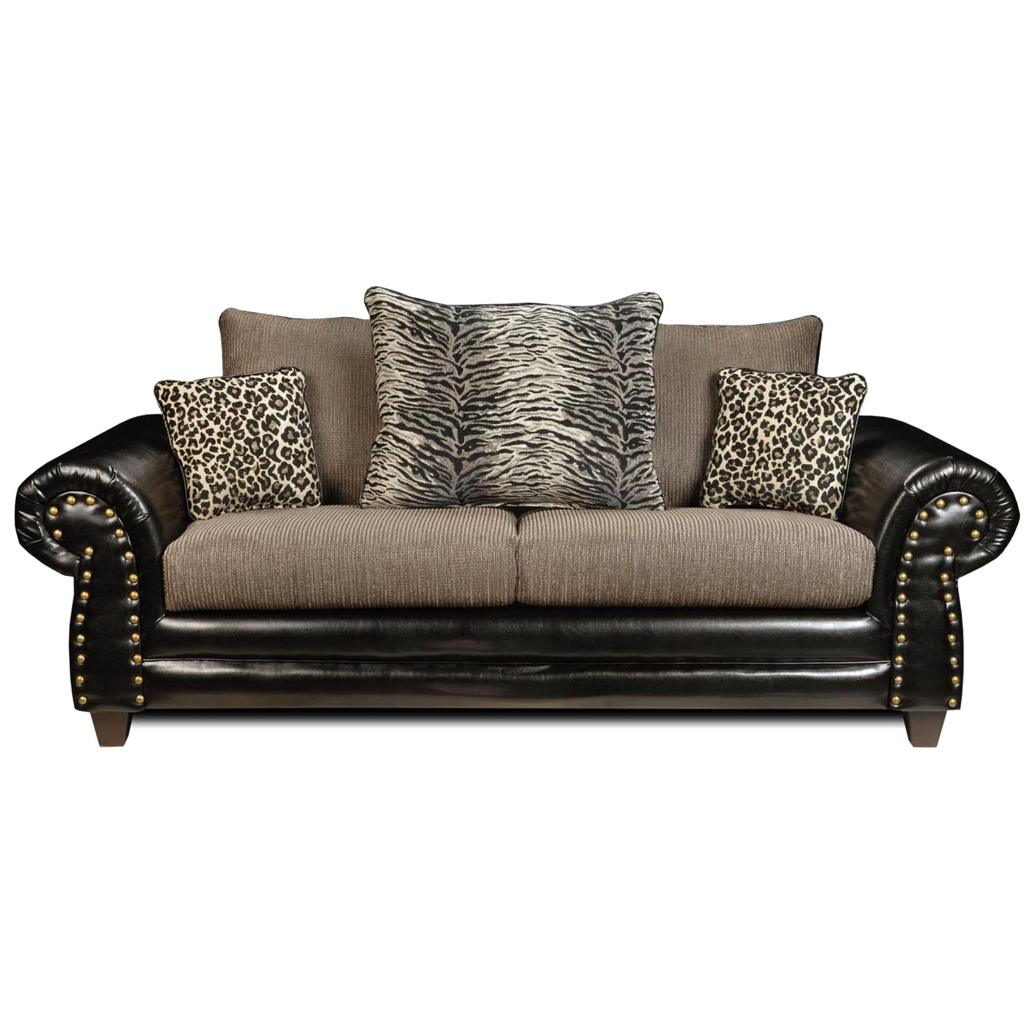 tiger print sofa set sears loveseat beds colbie transitional leopard and pillows