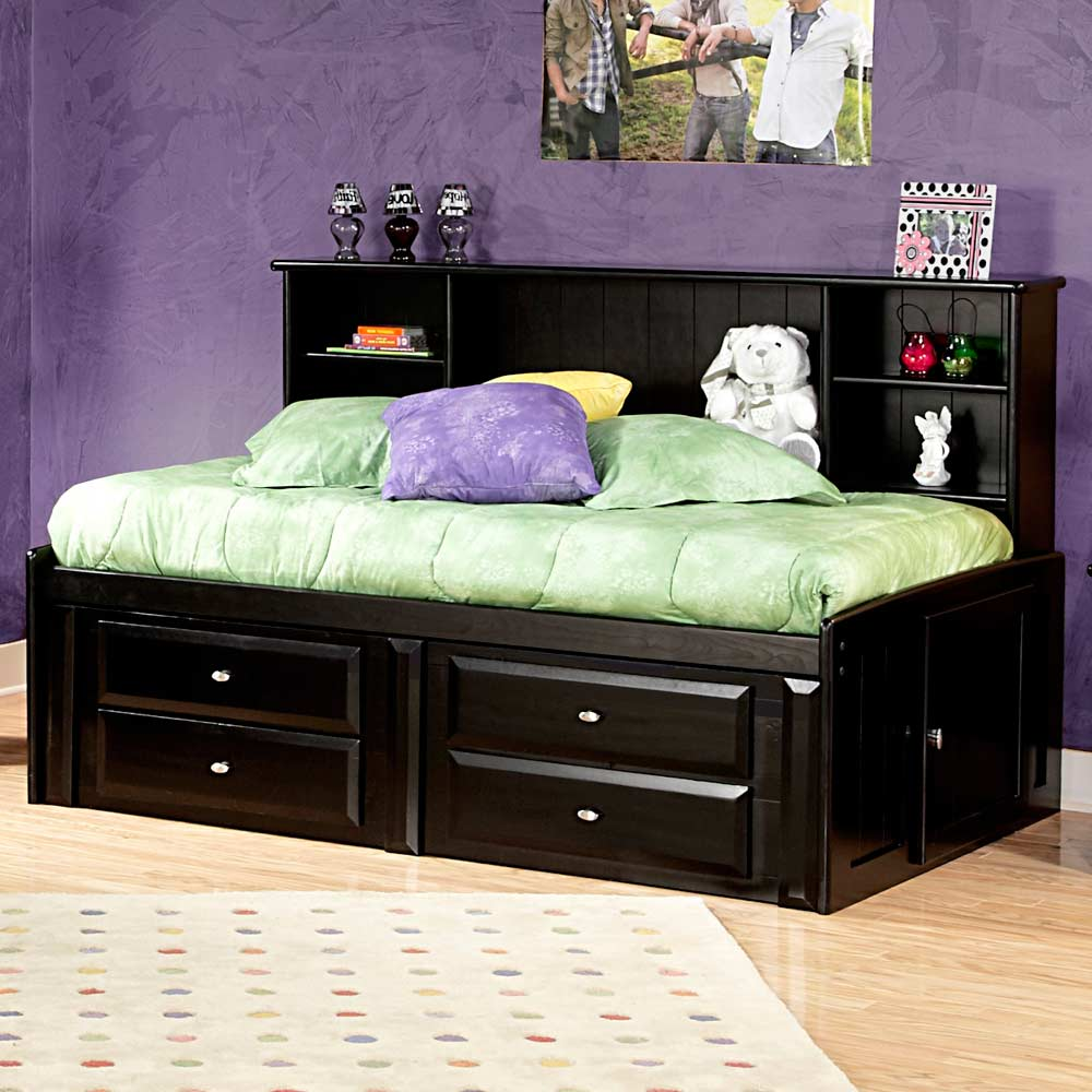 Twin Mates Bed  Side Bookcase Black Cherry Finish  DCG