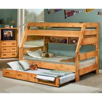 Twin Over Full Bunk Bed - Trundle Unit, Cinnamon Finish ...