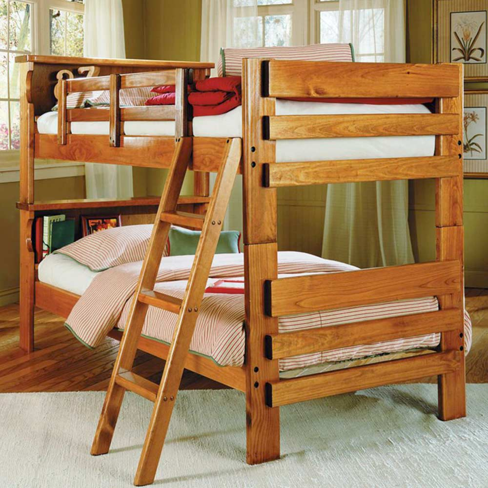 Twin Bunk Bed Bookcase Headboard Ladder Honey Dcg Stores