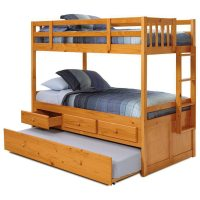 Twin Mission Storage Bunk Bed - Trundle Unit, Honey Finish ...