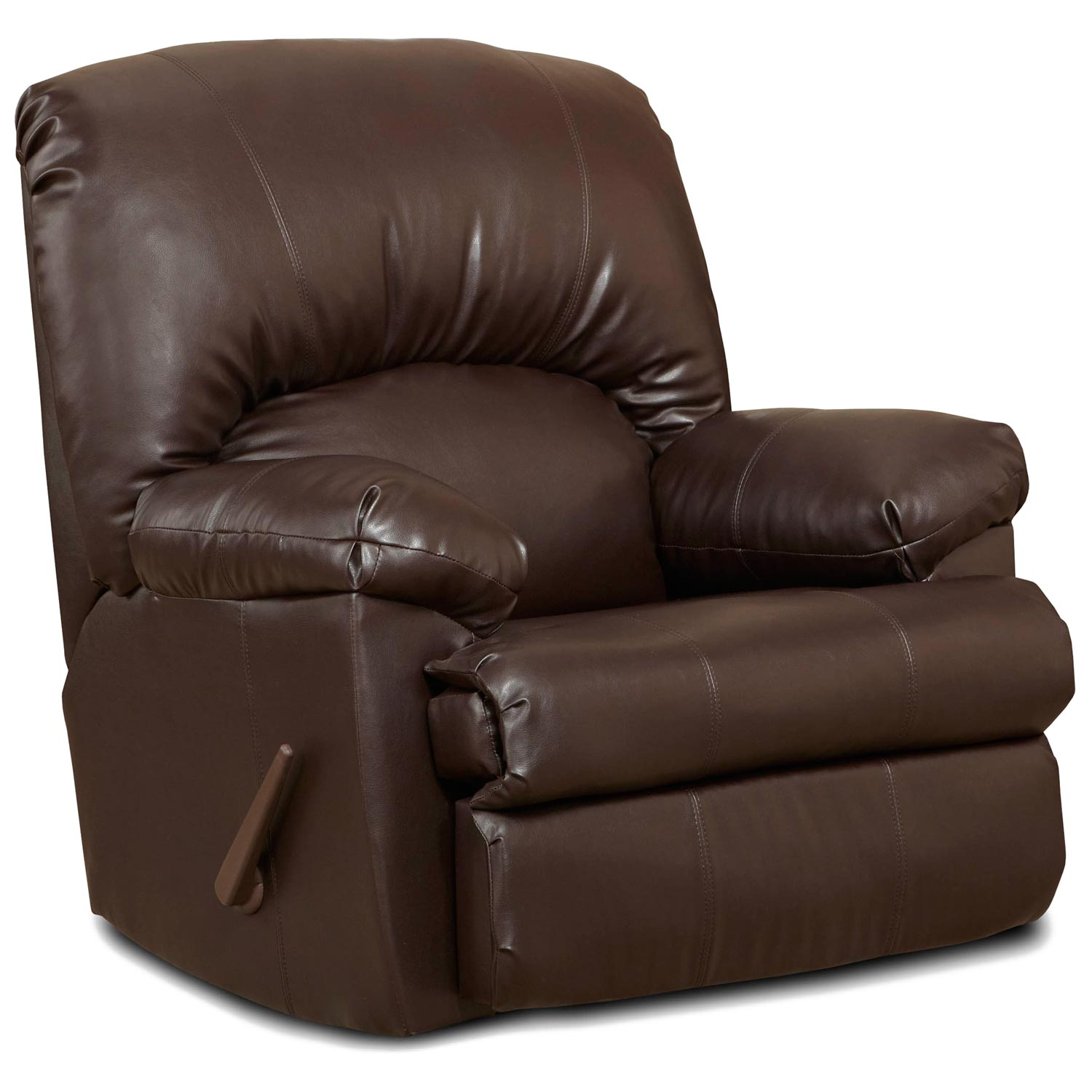 brown leather rocking chair small plastic charles rocker recliner dcg stores
