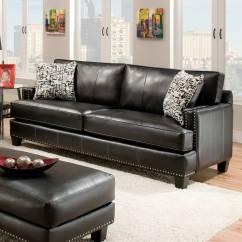 Black Leather Sofa With Nailheads Costco Corner Uk Kimberly Nail Heads Apache Dcg Stores