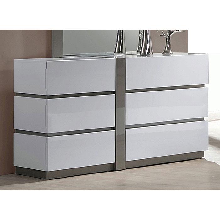 manila 6 drawer dresser glossy white gray accents