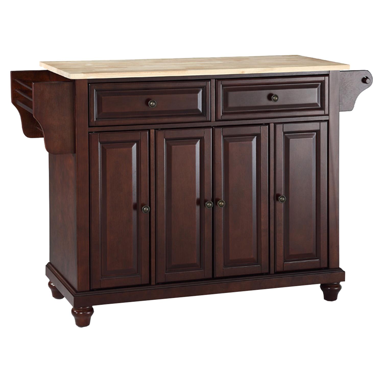 mahogany kitchen island aid beater cambridge natural wood top vintage