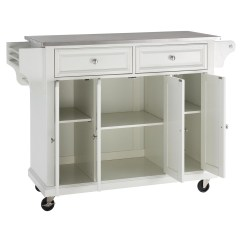 Kitchen Cart With Stainless Steel Top Home Depot Painting Cabinets Island Casters White