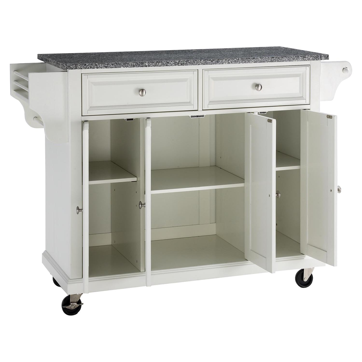 unfinished kitchen cart cool gadgets solid granite top island casters white