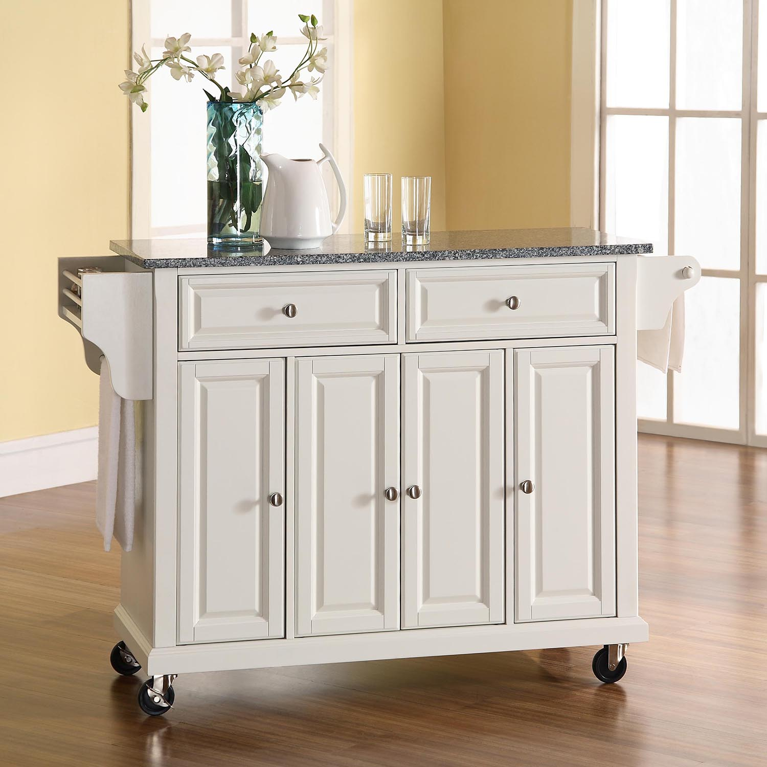 marble top kitchen cart booster seat solid granite island casters white