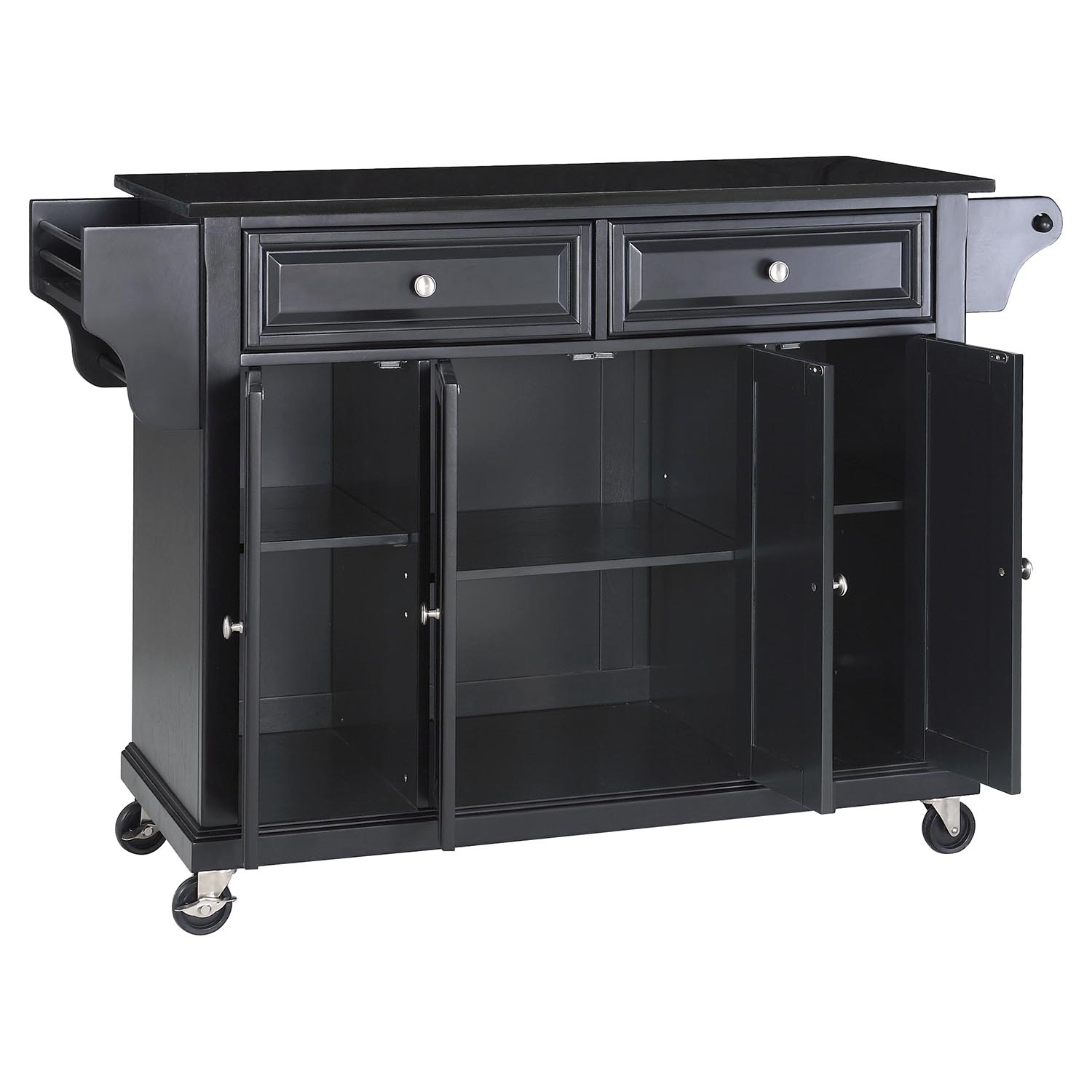 marble top kitchen cart pantry cabinets solid black granite island casters