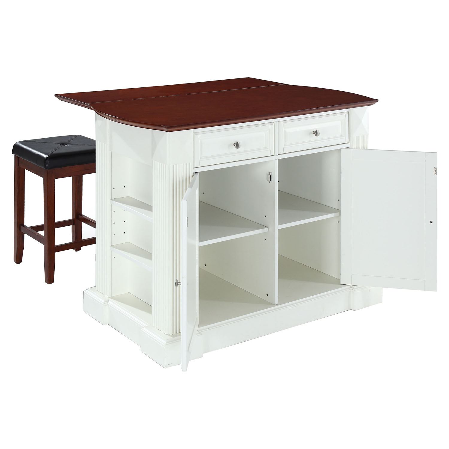 kitchen island with drop leaf remodeling kitchens in white 24 quot cherry square