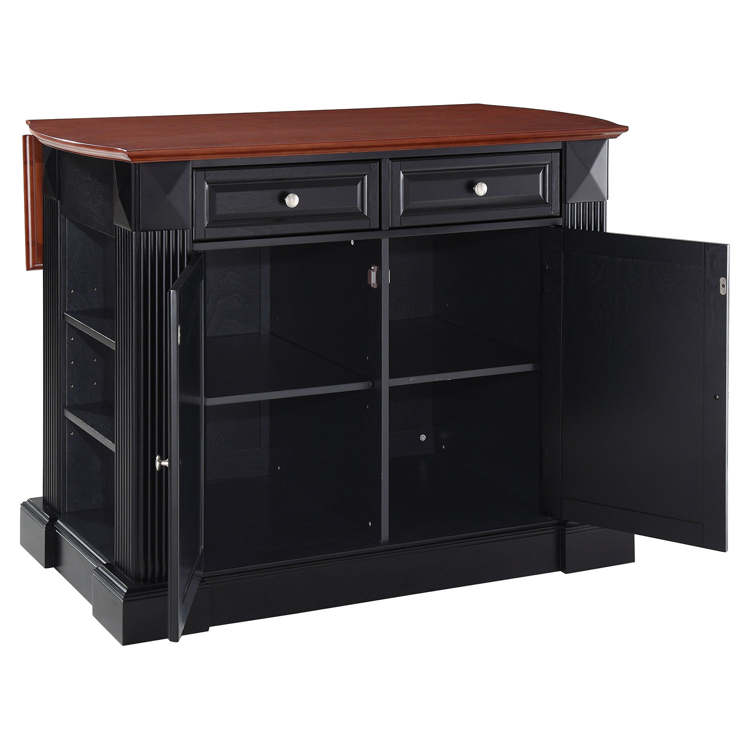 kitchen island with drop leaf white hutch cabinet breakfast bar top black dcg