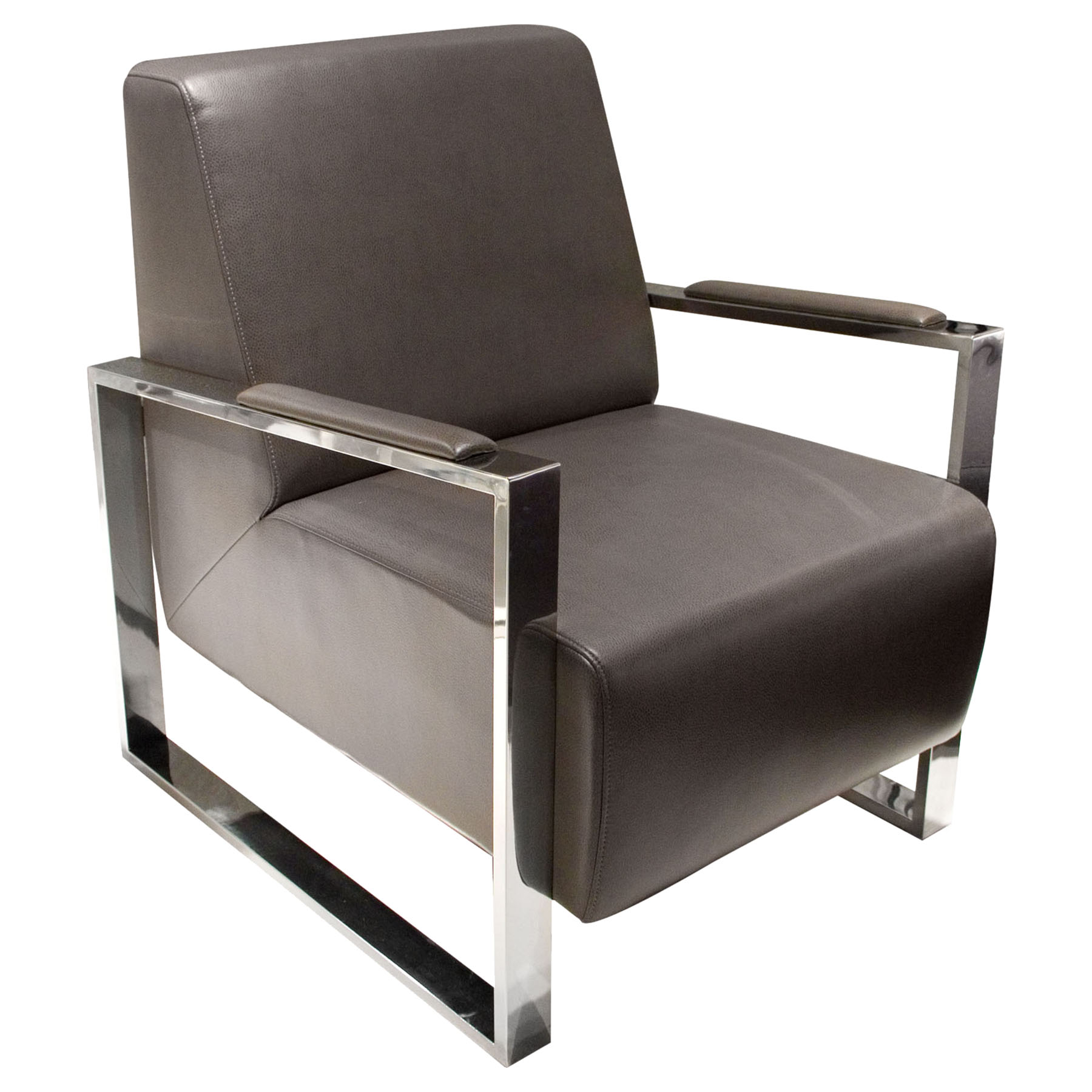 chair and steel louis xv chairs century bonded leather armchair elephant gray stainless