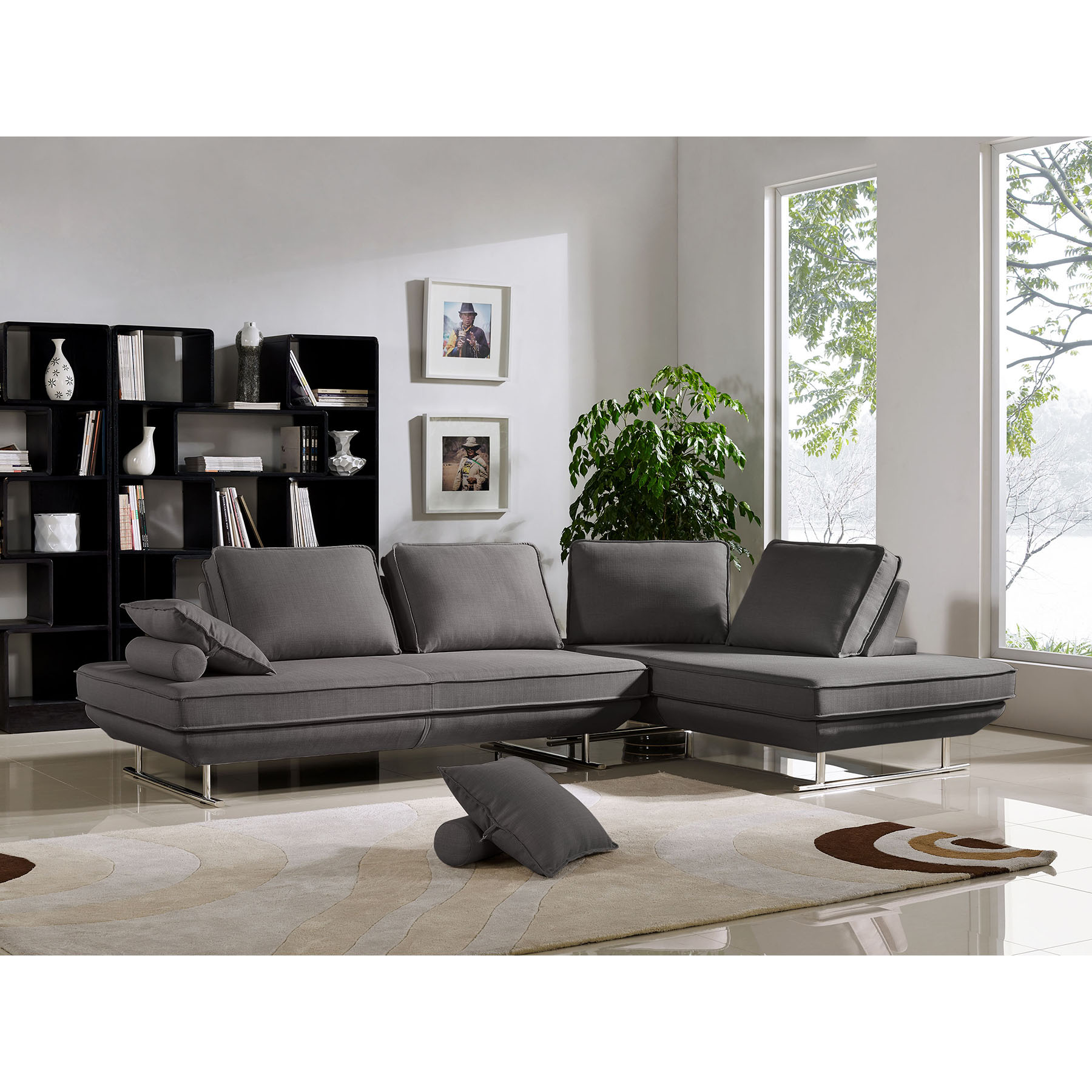 diamond sofa dolce daren leather 6 piece power reclining sectional with 3 recliners lounge chairs moveable backrest gray fabric set
