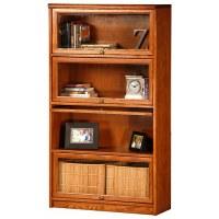 Classic Oak Promo 4-Tier Lawyer Bookcase - Glass Doors ...