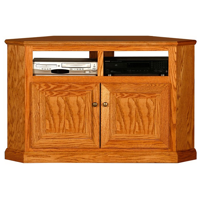 Classic Oak 50 Tall Corner TV Cabinet  2 Shelves 2