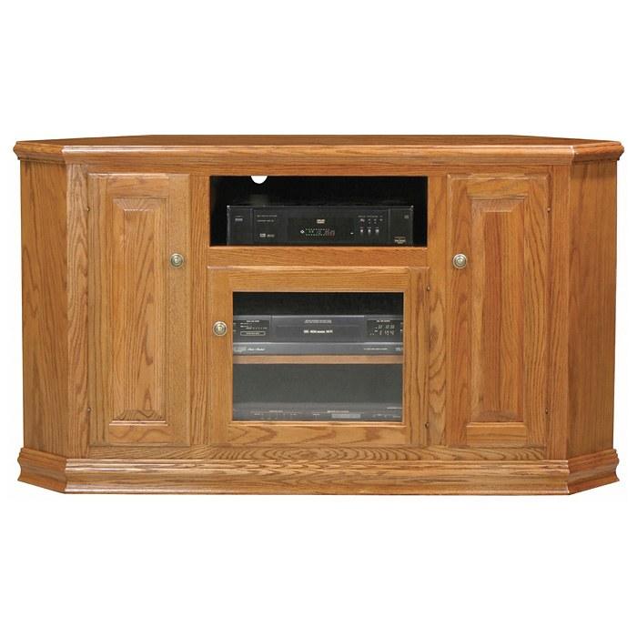 Classic Oak 56 Tall Corner TV Cabinet  1 Open Shelf 3