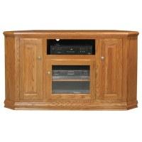 "Classic Oak 56"" Tall Corner TV Cabinet - 1 Open Shelf, 3 ..."