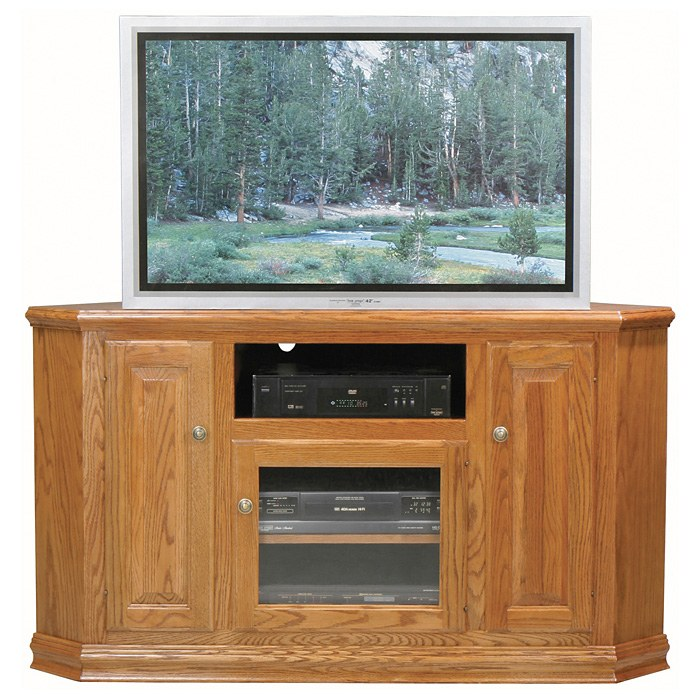 Classic Oak 56 Tall Corner TV Cabinet  1 Open Shelf 3