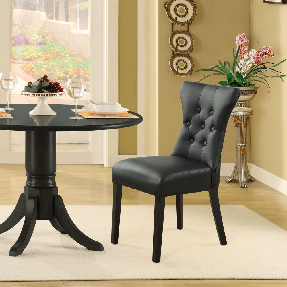 Silhouette Faux Leather Dining Chairs  Button Tufted
