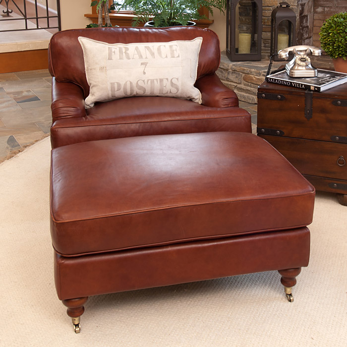 leather chair ottoman set no sew pockets cambridge and in acorn dcg stores ele cmb 2pc sc