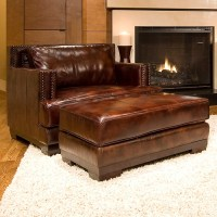 Davis Leather Club Chair and Ottoman in Saddle Brown | DCG ...