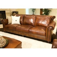 Paladia Leather Sofa in Rustic Brown | DCG Stores