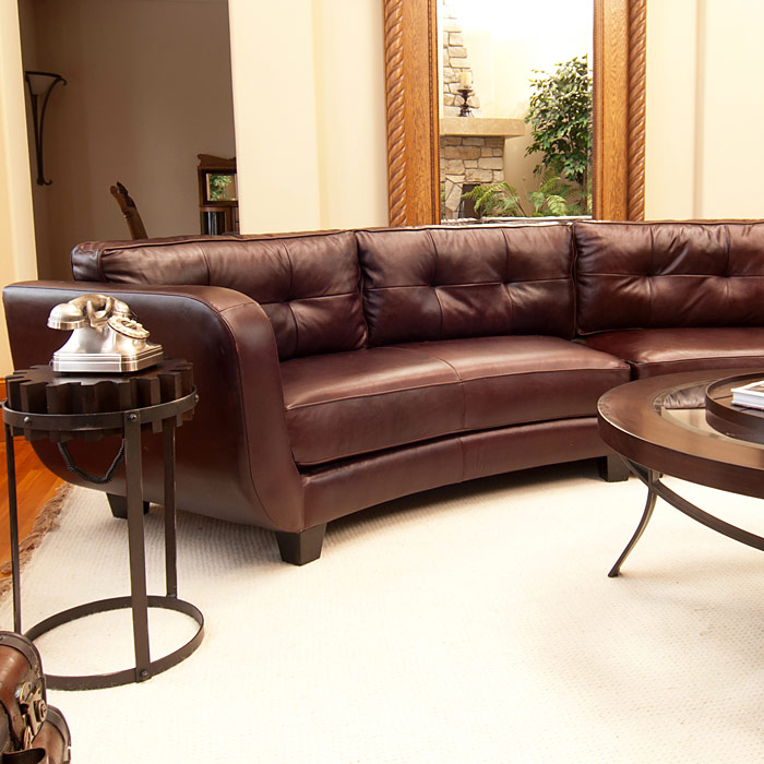 Vittorio Mahogany Top Grain Leather Curved Sectional  DCG