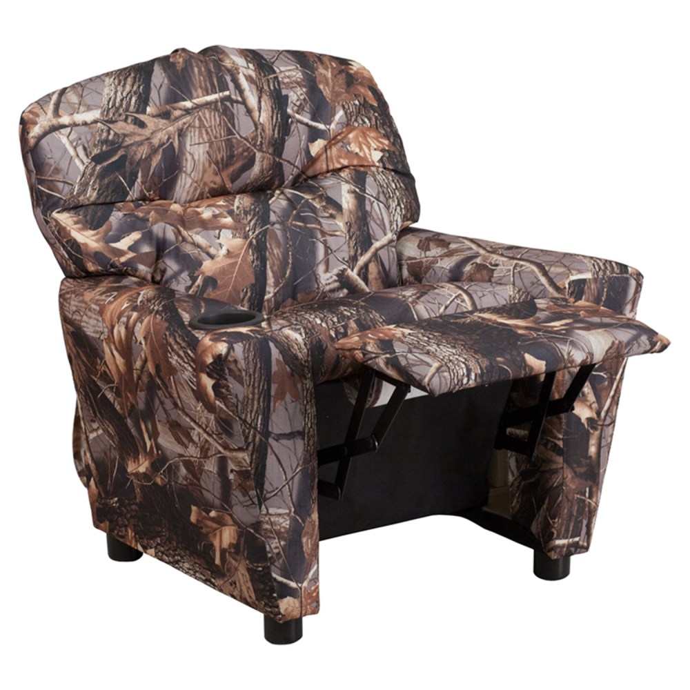 Fabric Kids Recliner Chair  Cup Holder Camouflaged  DCG